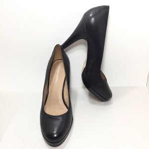 FRANCO FORTINI Black leather Studded Pumps